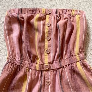 Urban Outfitters Pants - Urban Outfitters Striped Tube Romper Pink Gold
